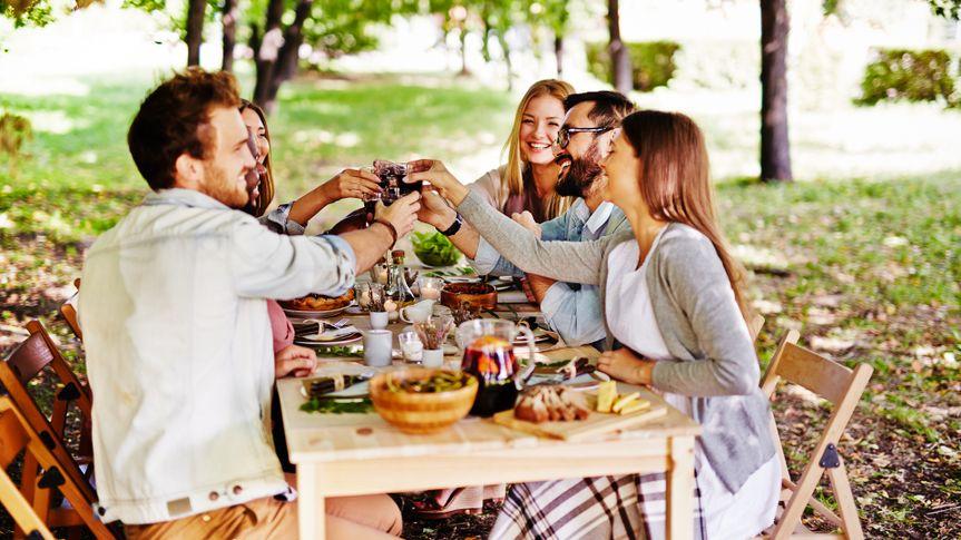 friends enjoying meal in a park