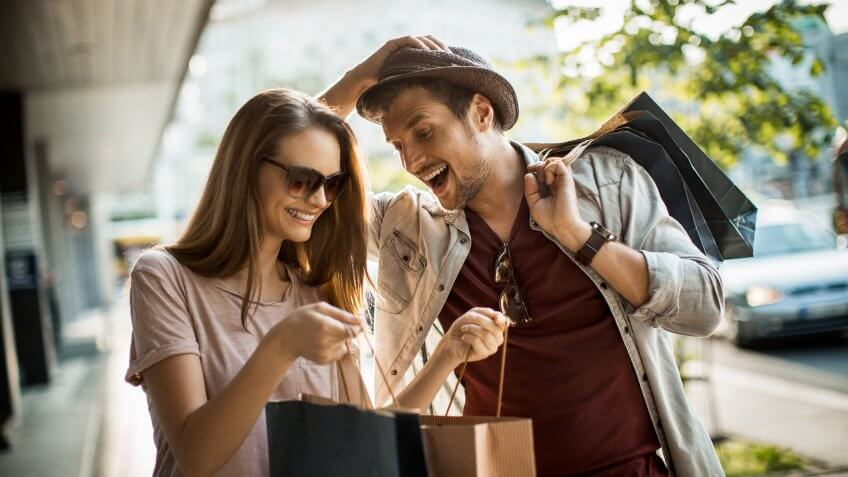 Close up of a couple enjoying shopping together.