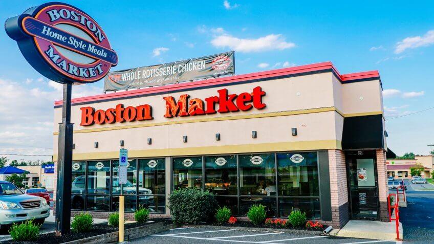 Philadelphia, Pennsylvania - Aug 16, 2017: Logo and Signage of a Boston Market Fast Casual Restaurant.