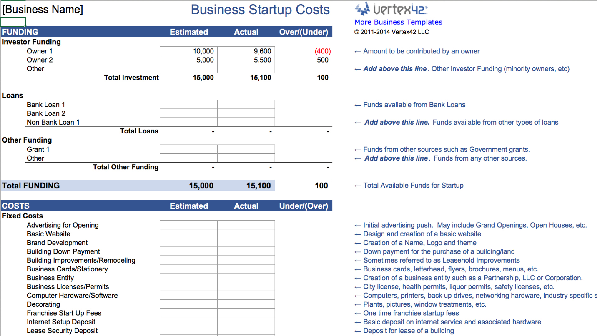 business plan expenses template inside mo condant