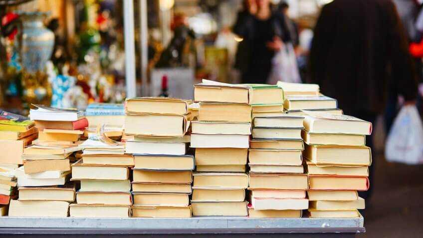 Old books on a Parisian flea market.