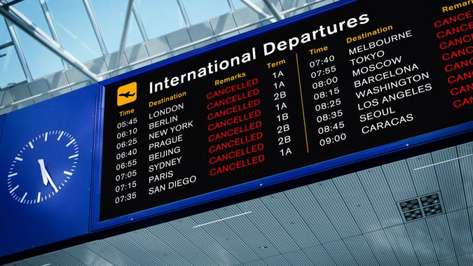 International Departures Information Board with All Flights Cancelled.