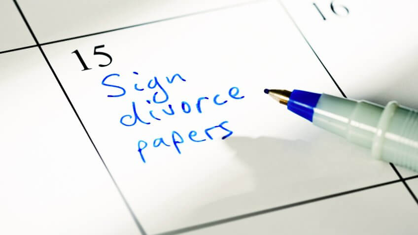 A non-specific calendar has the words 'Sign divorce papers' written in blue.