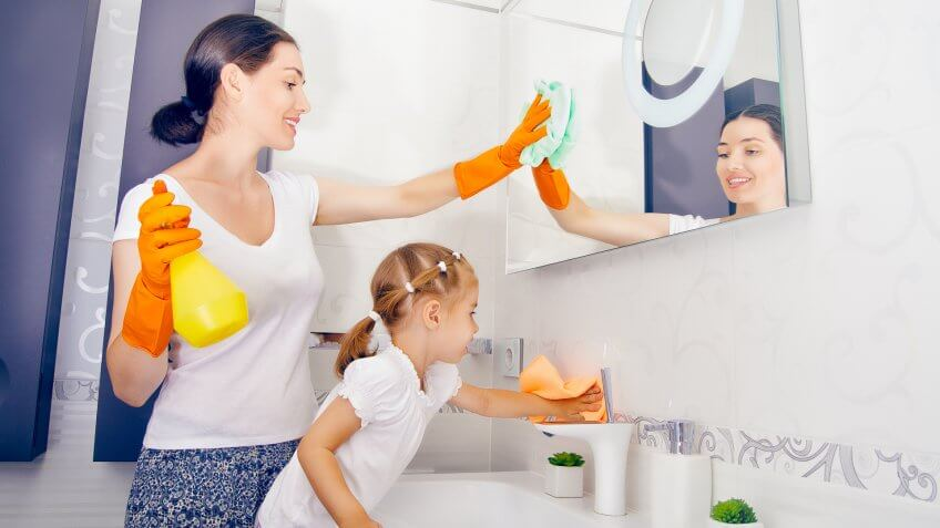 happy family do the cleaning.