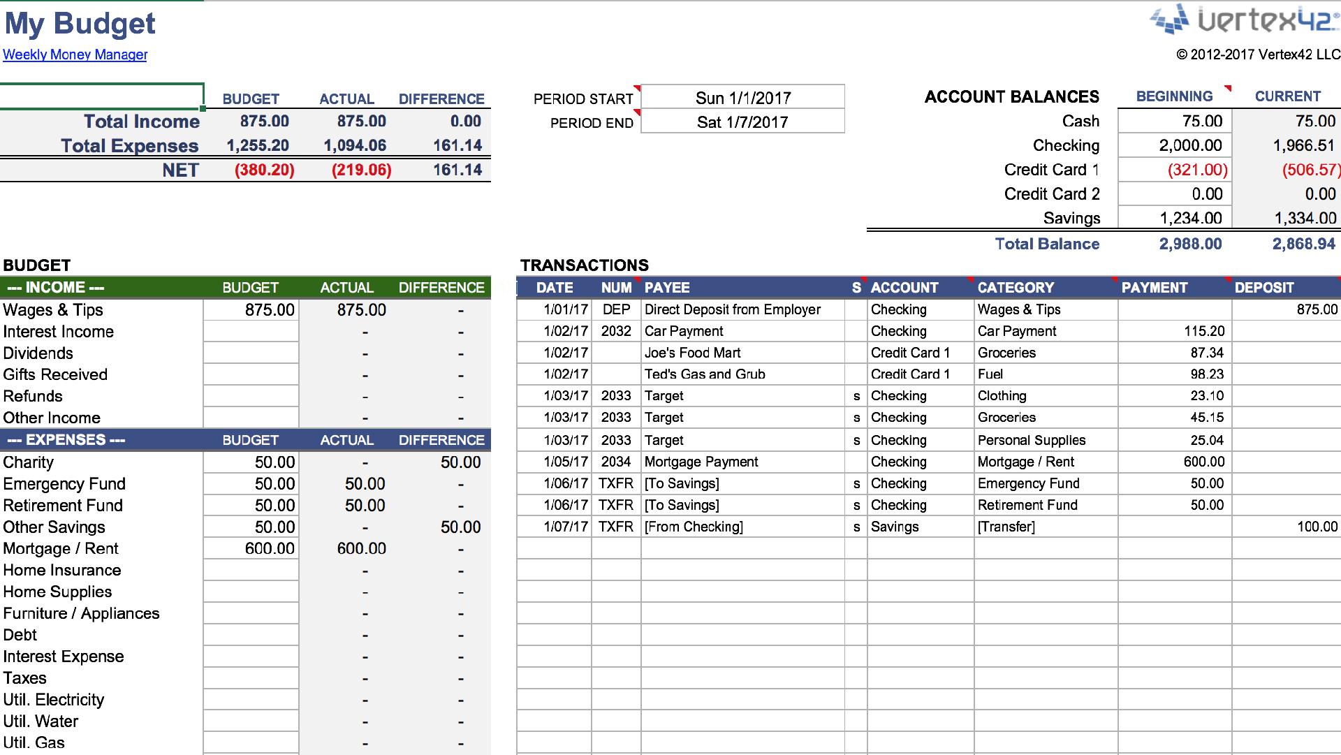 Money Management Template Excel