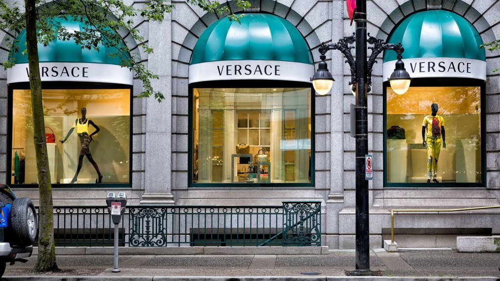 outside of a Versace store