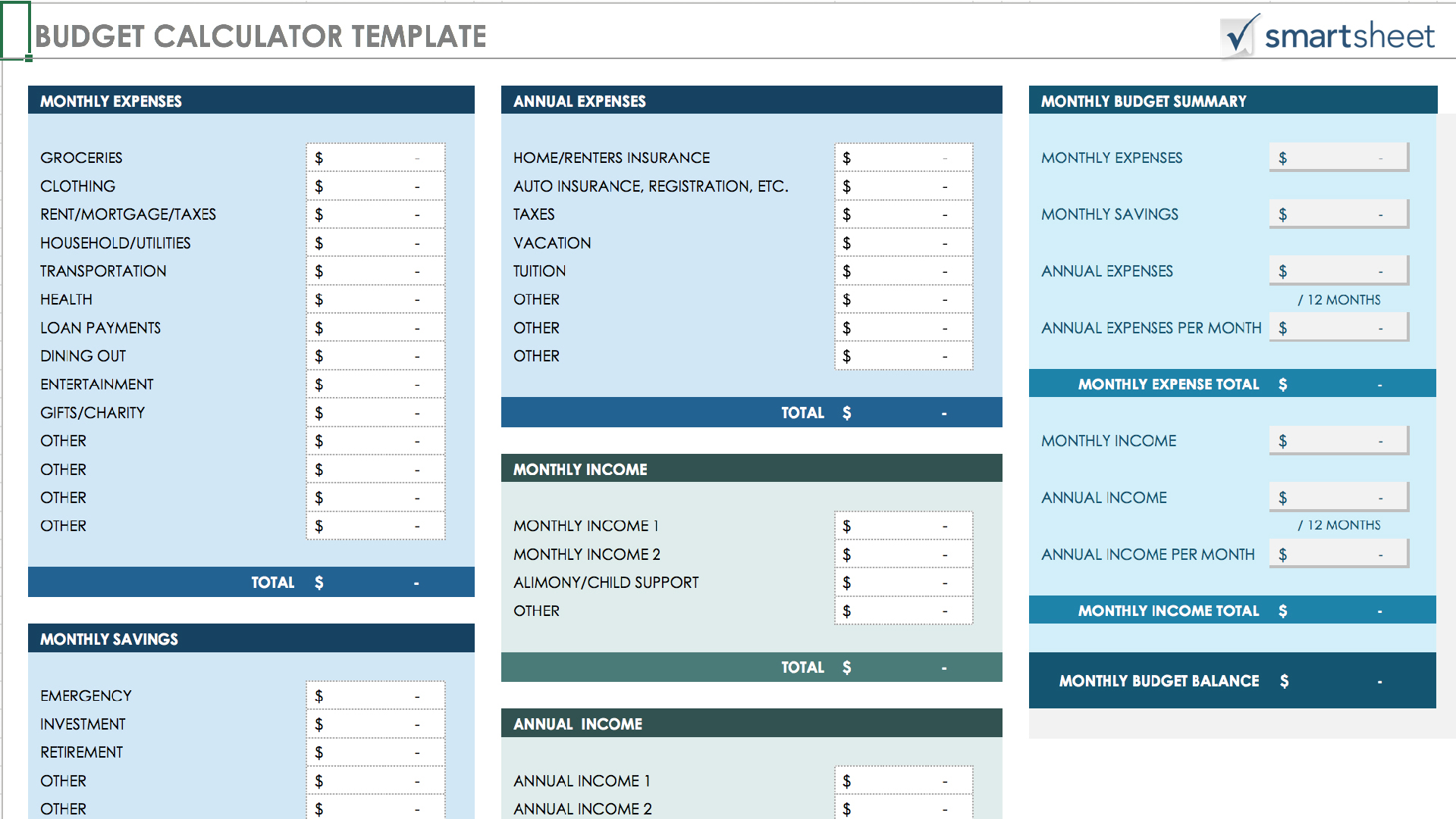 Monthly Budget Template  Income Template