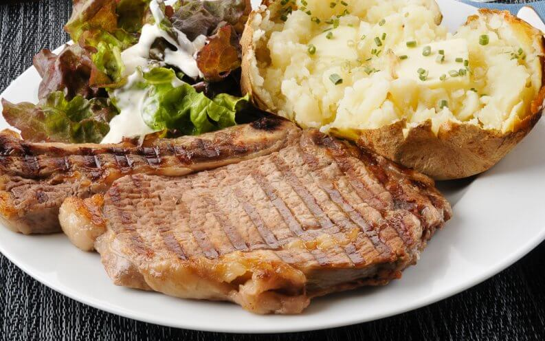 country steak with mashed potatoes