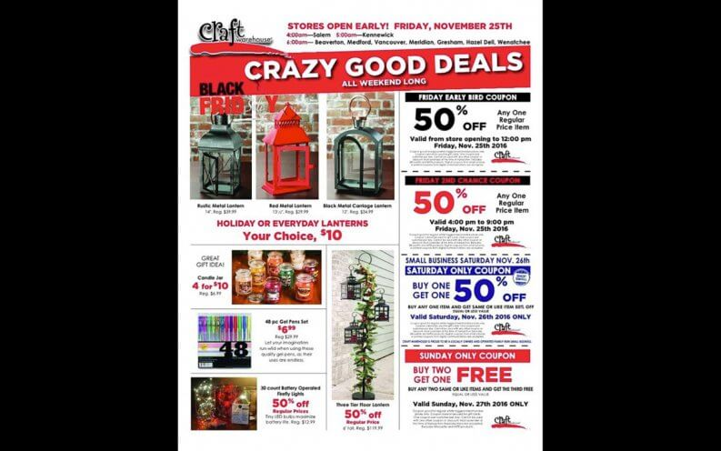 Craft Warehouse Black Friday coupon