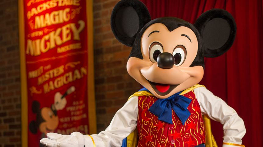 Dressed in his finest magician duds, Mickey Mouse greets Magic Kingdom guests in his rehearsal room at Town Square Theater.