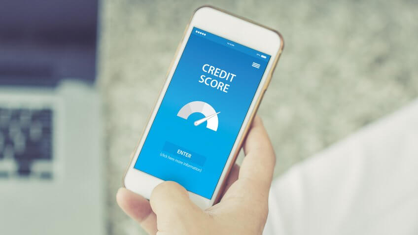 checking credit score on smartphone app