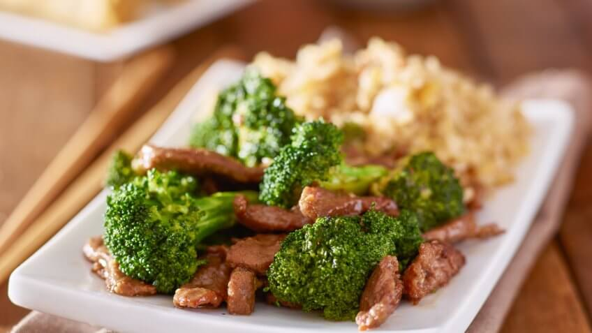 beef and broccoli and rice