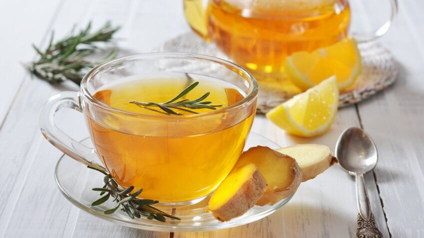 ginger tea with lemon and rosemary