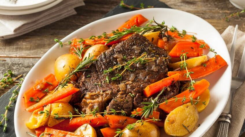 fresh roast with root vegetables