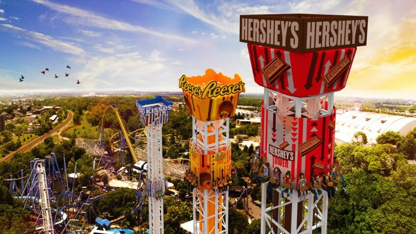 Hershey Triple Tower at Hersheypark in Hershey, Pa.