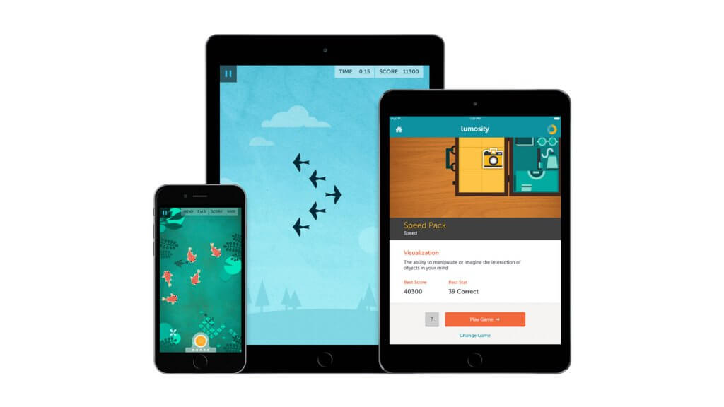 lumosity app open on two ipads and an iphone