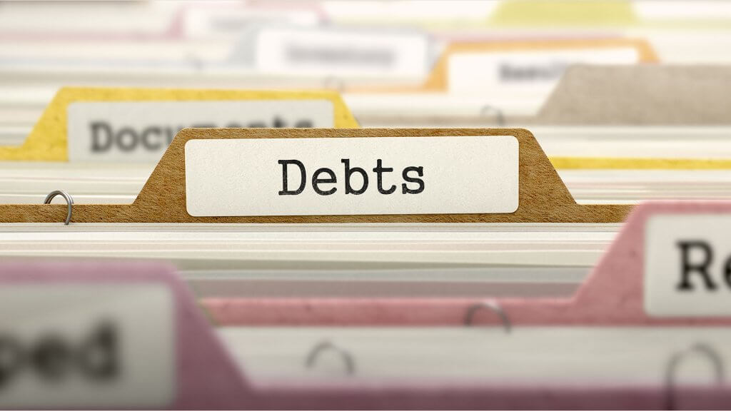folder labeled debts
