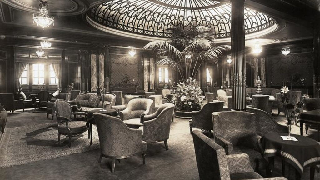 The First Class Lounge of the RMS Mauretania circa 1913