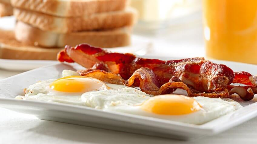 breakfast plate eggs bacon toast orange juice