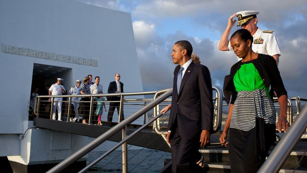 Obama family walking on a path