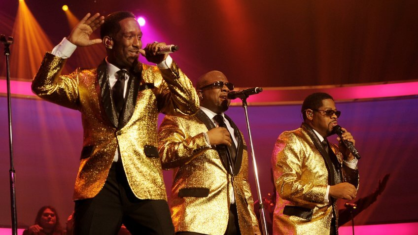 LAS VEGAS, NV - MARCH 01:  Shawn Stockman, Wanya Morris and Nate Morris of Boyz II Men pperform at the Mirage at on March 1, 2013 in Las Vegas, Nevada.
