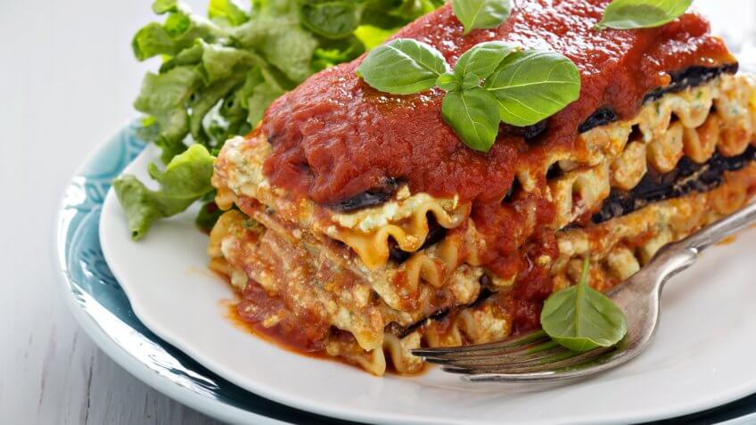 lasagna and basil on a plate