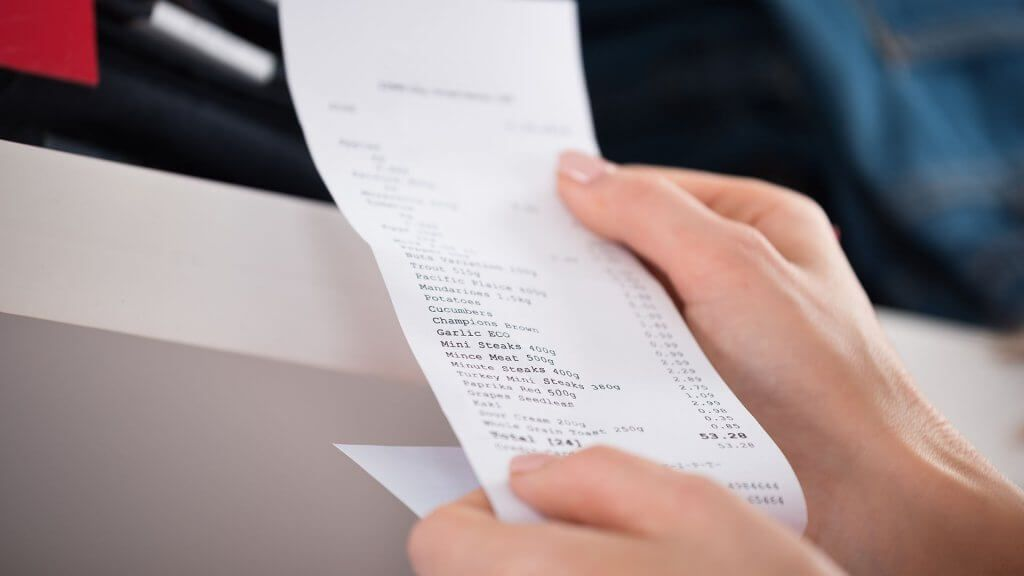 long receipt of grocery items