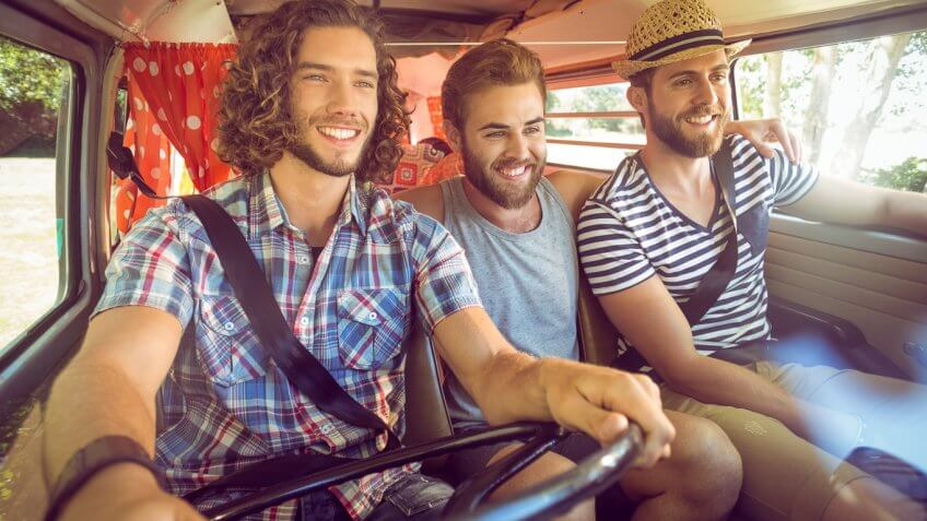 3 young guys on a road trip