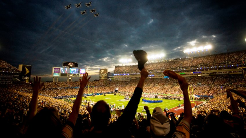 The 2009 US Air Force Thunderbirds fly over Superbowl XLIII in Tampa, Fla.