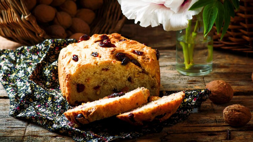 Cranberry and walnut bread baked in the bread machine.