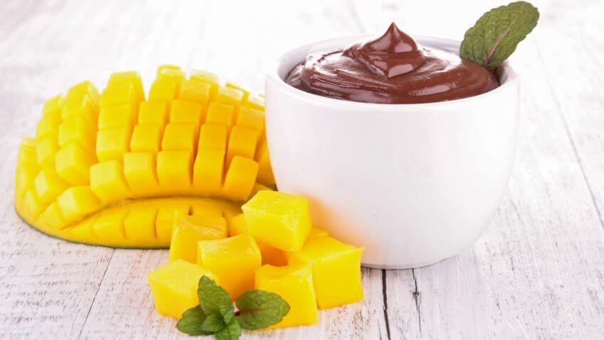 chocolate sauce and mango.