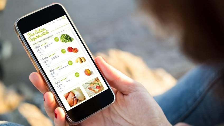 online app, online grocery store, online shopping, smartphone