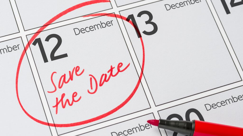 save the date December 12 circled in red on calendar