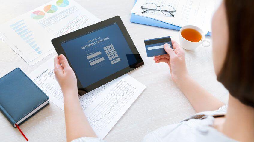 online banking on tablet