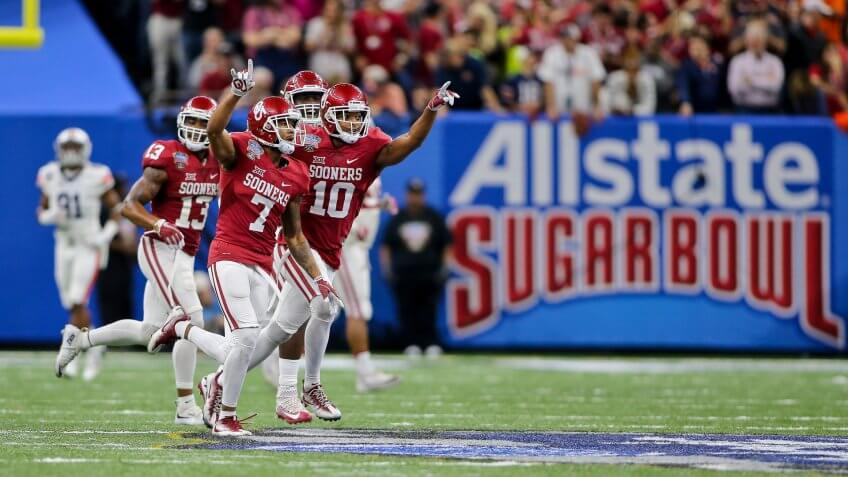 Mandatory Credit: Photo by Steve Dalmado/CSM/REX/Shutterstock (7689166bb)Oklahoma Sooners cornerback Jordan Thomas (7) celebrates after his interception during the 2nd half of the Allstate Sugar Bowl between Auburn and Oklahoma at the Mercedes Benz Superdome in New Orleans, LA.
