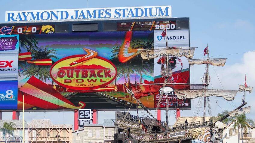 Mandatory Credit: Photo by Scott Kinser/CSM/REX/Shutterstock (7689087bi)the Outback Bowl at Raymond James Stadium in Tampa, FLNCAA Football Iowa vs Florida, Tampa, USA - 02 Jan 2017.