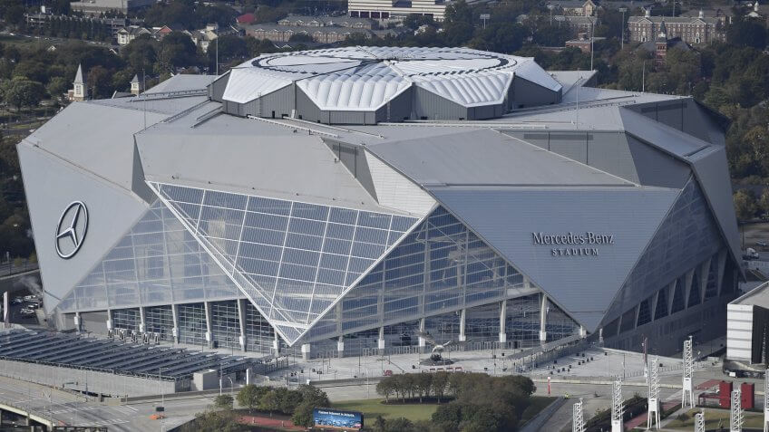 Mandatory Credit: Photo by AP/REX/Shutterstock (9226589a)This photo shows the Mercedes-Benz stadium in Atlanta.