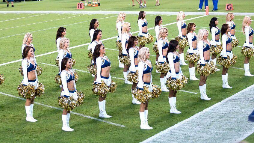cheerleaders on football field