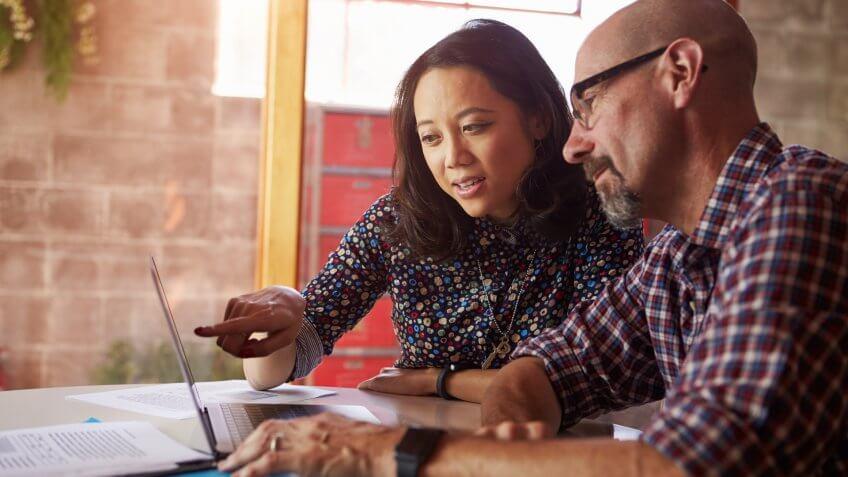 FRIENDS, MAN, colleagues, discussion, laptop, woman, work