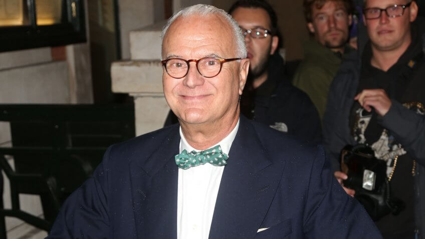 Manolo Blahnik arriving for London Fashion Week SS14 - Vogue dinner held at Balthazar, London.