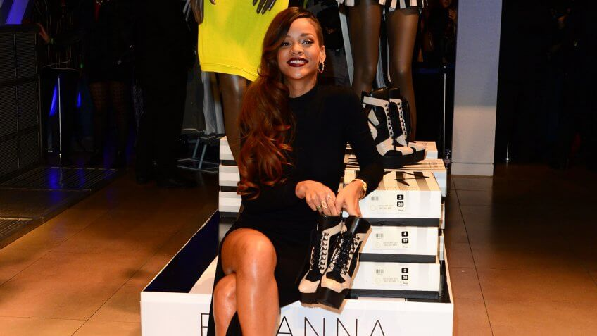 Mandatory Credit: Photo by Jon Furniss/Invision/AP/REX/Shutterstock (9062693j)Rihanna seen at the launch event for Rihanna's debut fashion collection at River Island Oxford Street in London onLaunch of Rihanna for River Island.