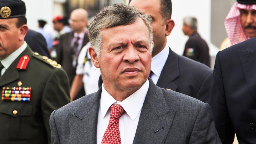 MAY 6, 2014 - AMMAN: King of Jordan, Abdullah II of Jordan (Abdallah II Bin Al-Hussein) at SOFEX conference opening in Amman.