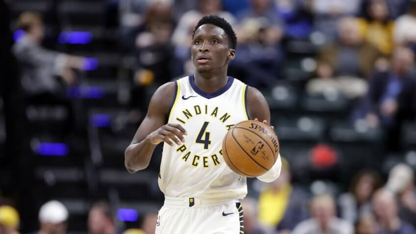 Mandatory Credit: Photo by Michael Conroy/AP/REX/Shutterstock (9342839aa)Indiana Pacers guard Victor Oladipo (4) brings the ball up court against the Charlotte Hornets during the second half of an NBA basketball game in Indianapolis, .