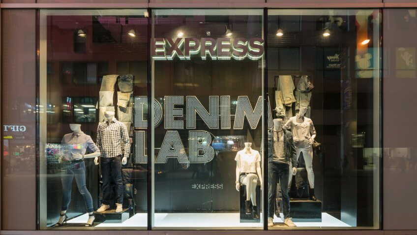 Express clothing store window display
