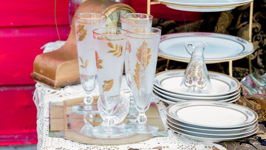plates and glasses at a wedding
