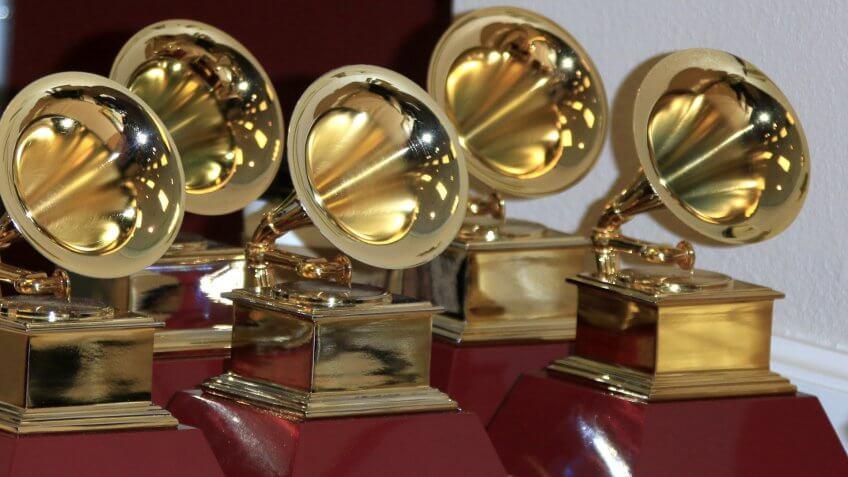 LAS VEGAS - NOV 19: Grammy Award Statues at the 16th Latin GRAMMY Awards at the MGM Grand Garden Arena on November 19, 2015 in Las Vegas, NV.