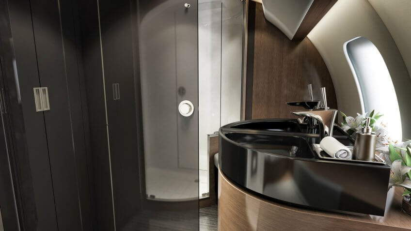 Inside the most luxurious private jets and what they cost for Private jet bathroom