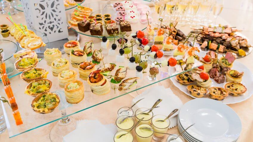 buffet spread of food at a wedding