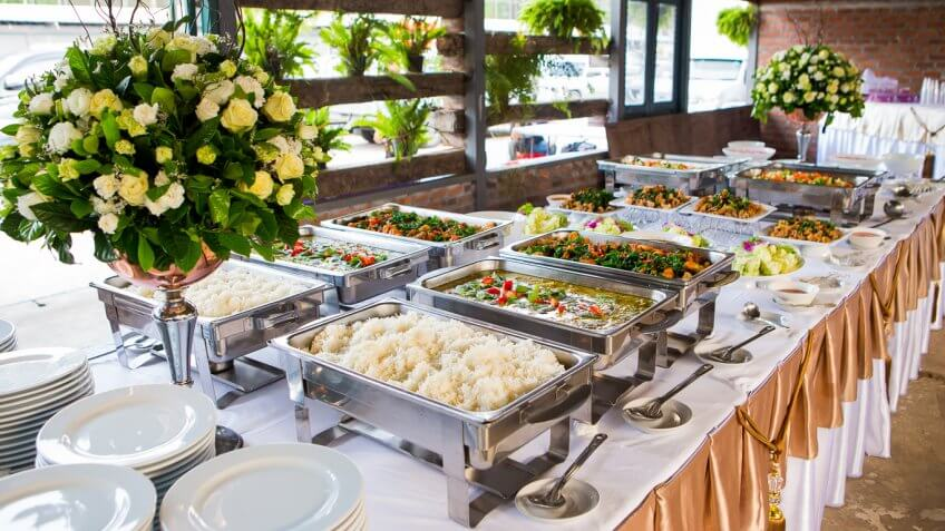 wedding buffet at a reception