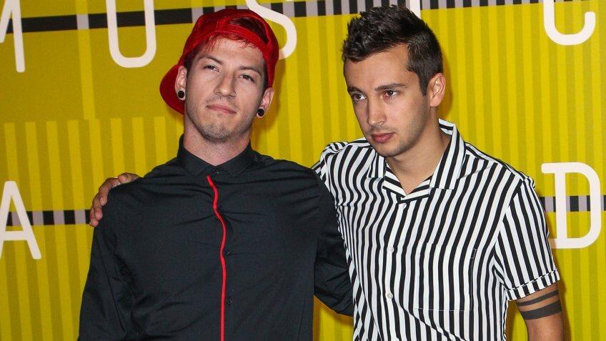 LOS ANGELES, CA/USA - AUGUST 30 2015: Josh Dun, left, and Tyler Joseph (Twenty One Pilots) attend the 2015 MTV Video Music Awards at Microsoft Theater.
